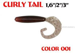 """Твистеры Aiko Curly Tail F 3"""" 75 мм / 3,8 гр / запах рыбы / цвет - 001 (упаковка 8 шт)"""