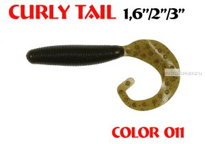 """Твистеры Aiko Curly Tail F 4"""" 100 мм / 8,8 гр / запах рыбы / цвет - 011 (упаковка 4 шт)"""