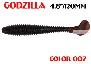 "Мягкая приманка Aiko  Godzilla 4.8"" 120мм / запах рыбы / цвет - 007  (упаковка 5шт)"