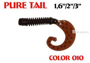 """Твистеры Aiko  Pure tail 1.6"""" 40 мм / 0,57 гр / запах рыбы / цвет - 010 (упаковка 12 шт)"""