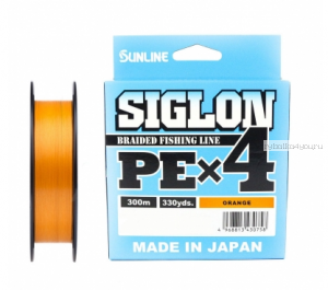 Плетёный шнур Sunline Siglon PEx4 300м / цвет: Orange